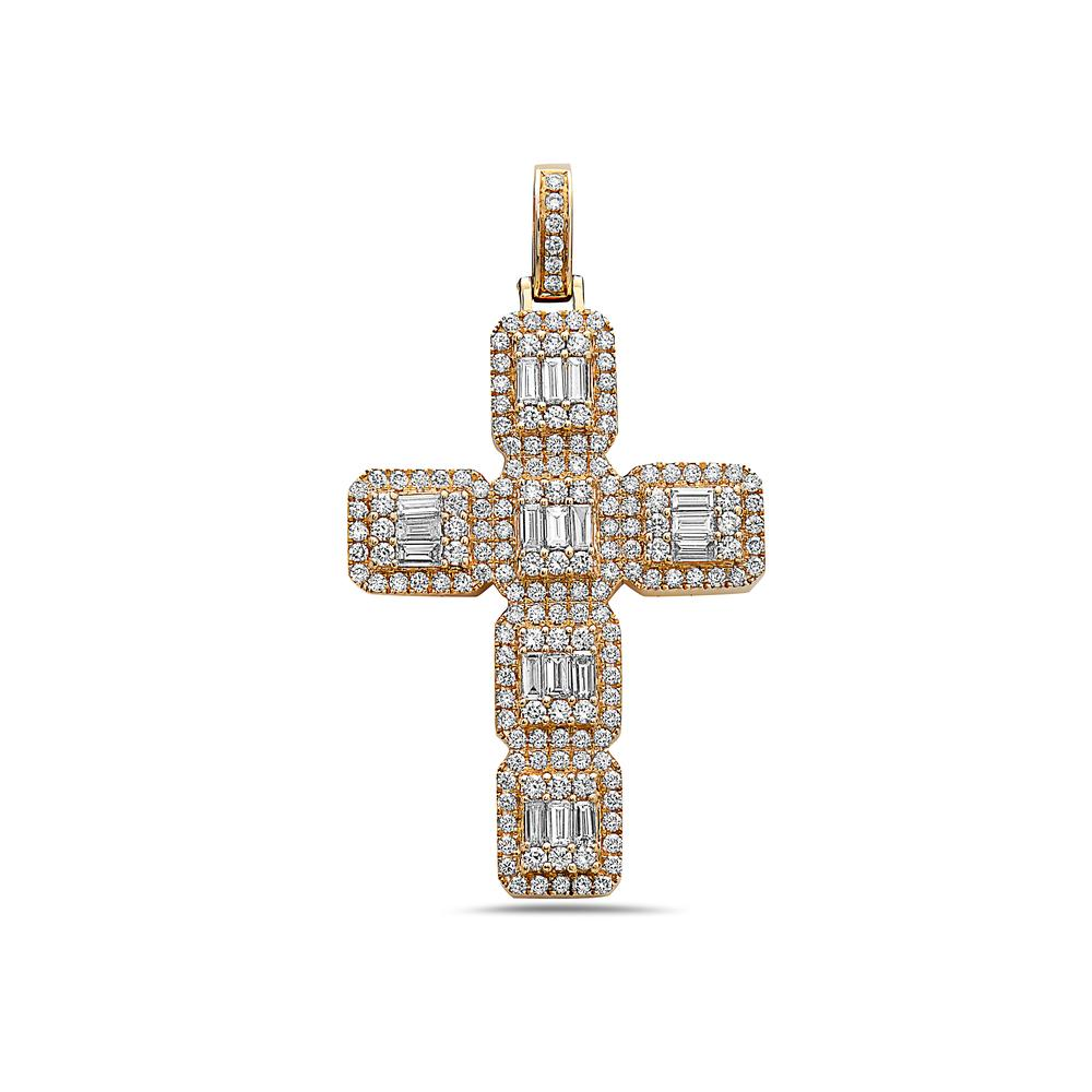Unisex 14K Yellow Gold Cross Women's Pendant with 1.56CT Diamonds
