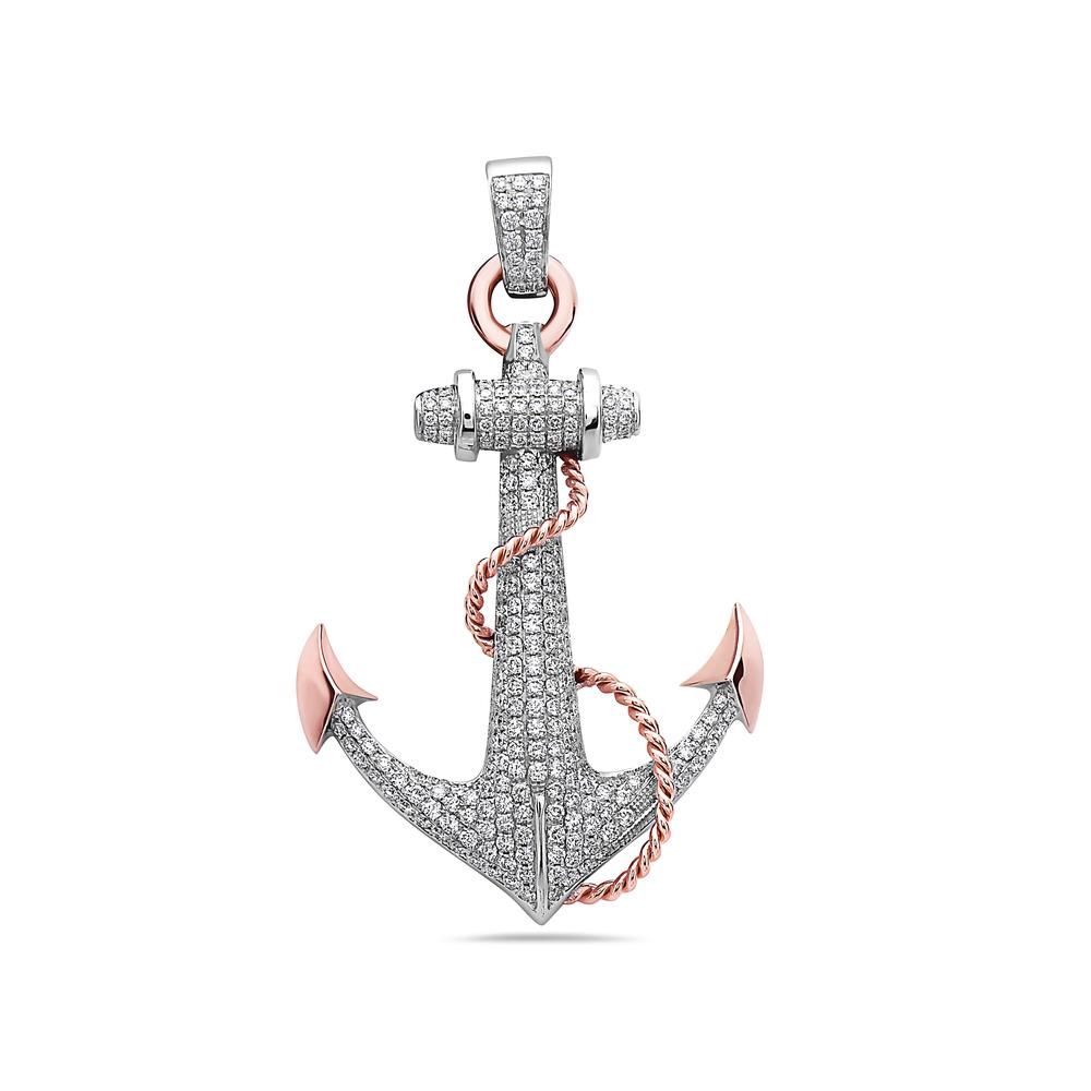 Unisex 14K White Gold Anchor Pendant with 3.36 CT Diamonds