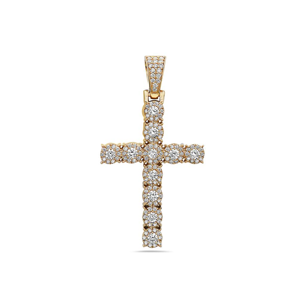 18K Yellow Gold Cross Women's Pendant with 1.95CT Diamonds
