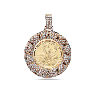 14K Yellow Gold Frame Coin Women's Pendant with 3.08CT Diamonds