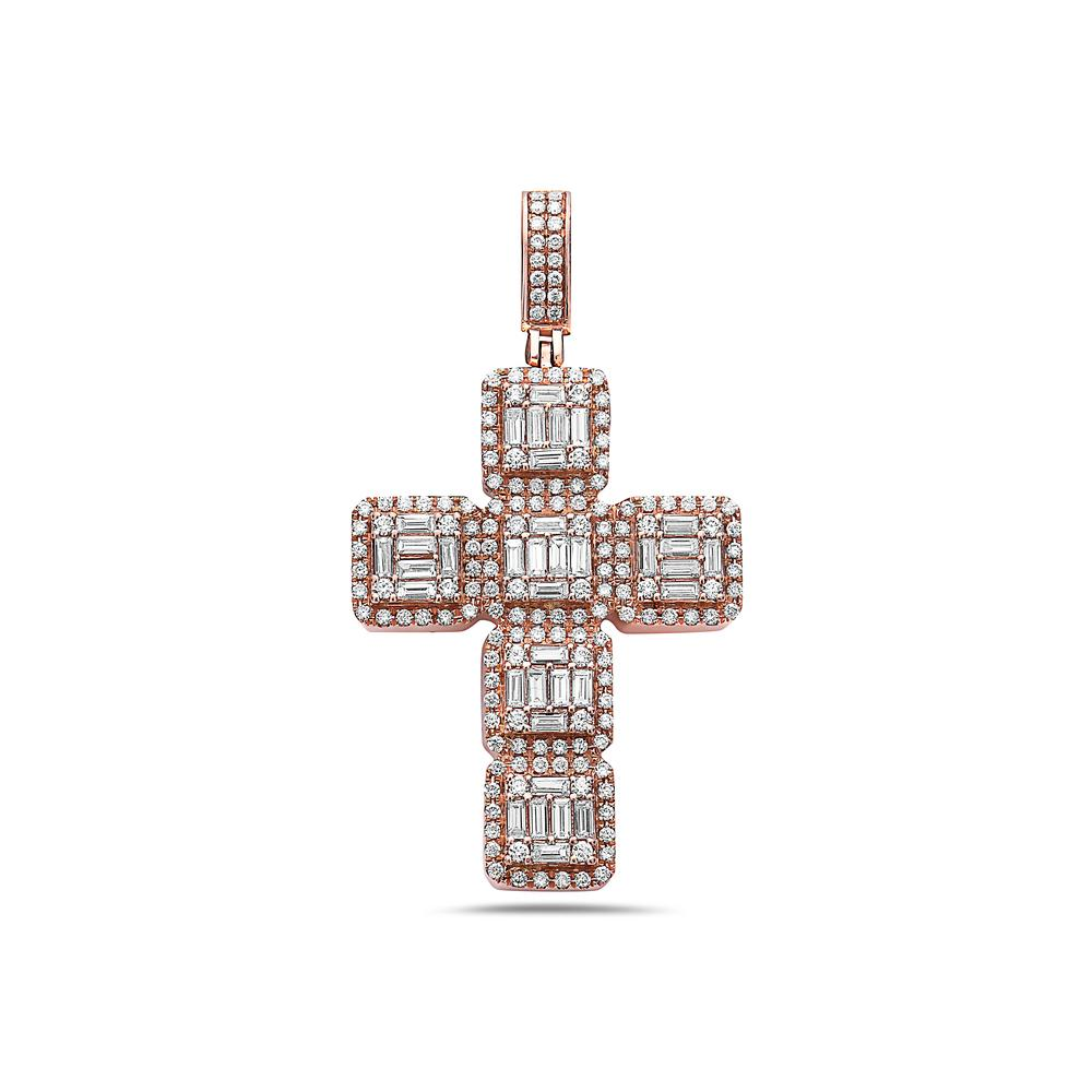 Unisex 14K Rose Gold Cross Pendant with 1.50CT Diamonds