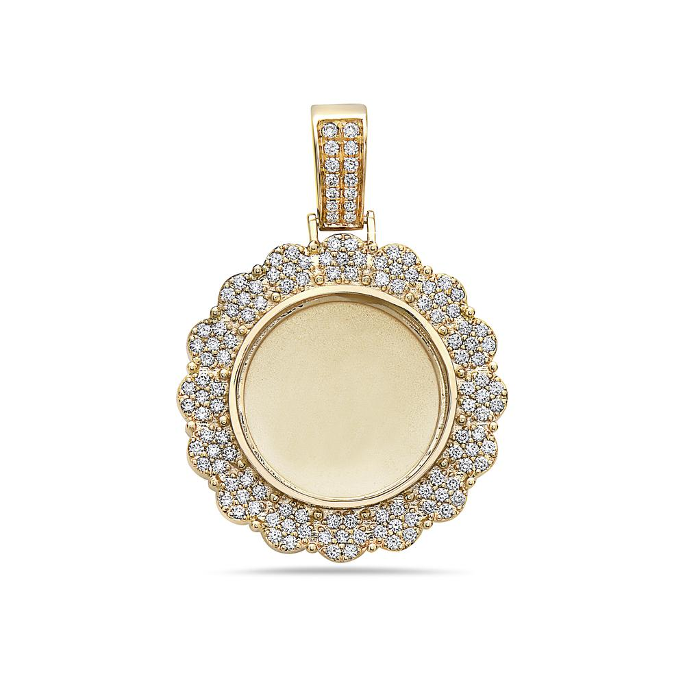 Unisex 14K Yellow Gold Blank Bezel Pendant with 1.52 CT Diamonds