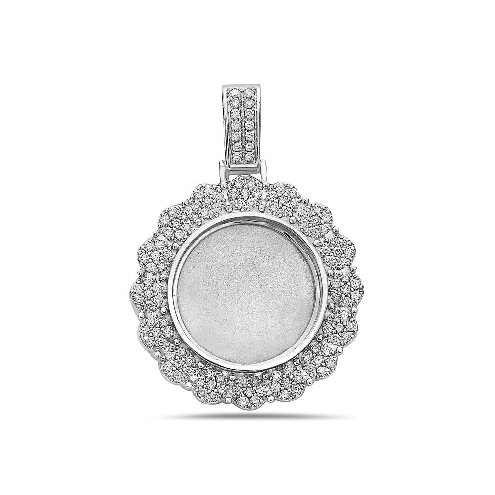 14K White Gold Sunflower Women's Pendant with 1.52CT Diamonds