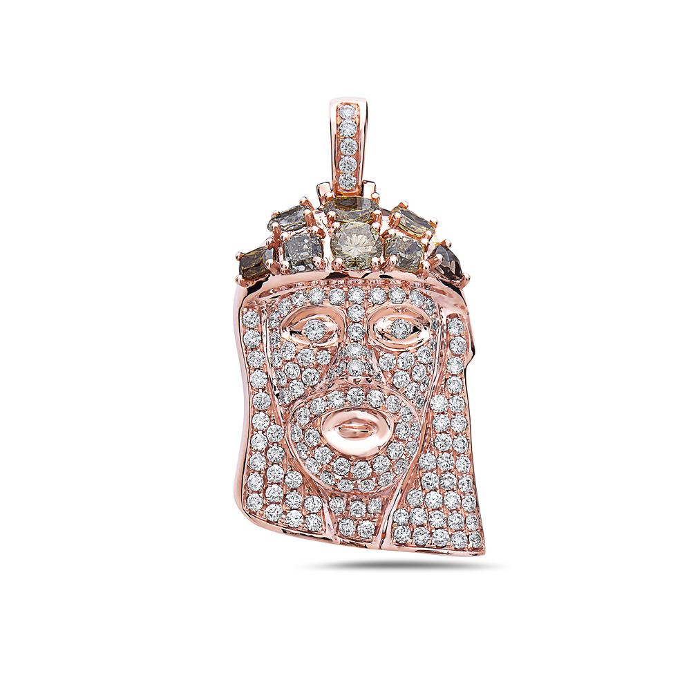 Unisex 14K Rose Gold Jesus Head Pendant with 6.29 CT Diamonds