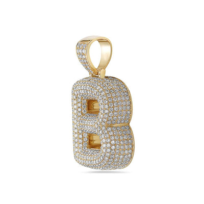 Men's 14K Yellow Gold 'B' Pendant with 7.82 CT Diamonds