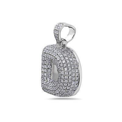 "14K White Gold Bold ""D"" Letter Women's Pendant with 2.71CT Diamonds"