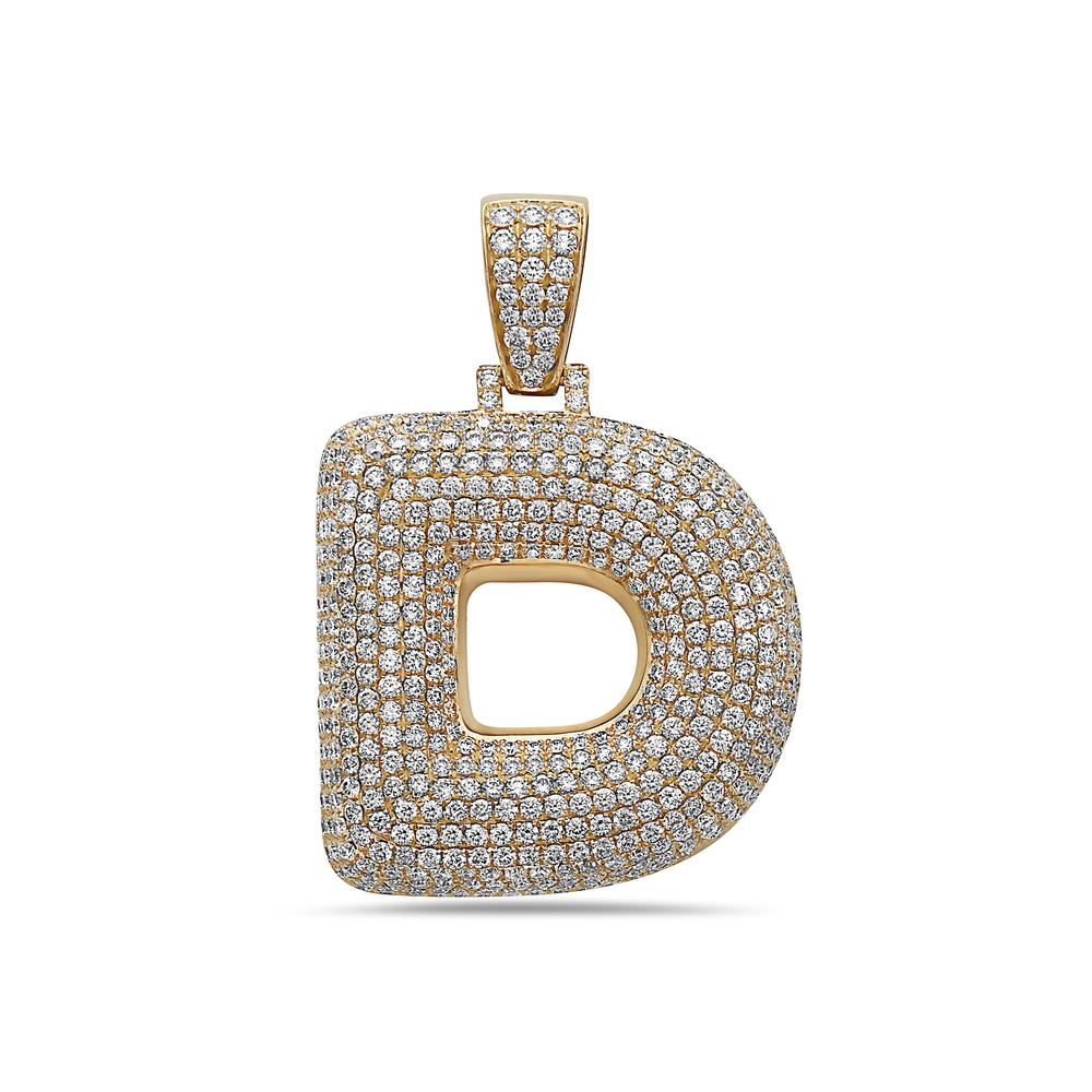Men's 14K Yellow Gold 'D' Pendant with 7.99 CT Diamonds
