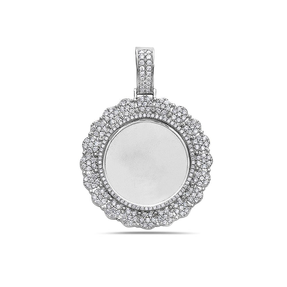 Unisex 14K White Gold Blank Bezel Pendant with 2.45 CT Diamonds