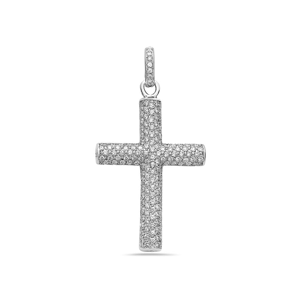Unisex 14K White Gold Cross Women's Pendant with 3.50CT Diamonds