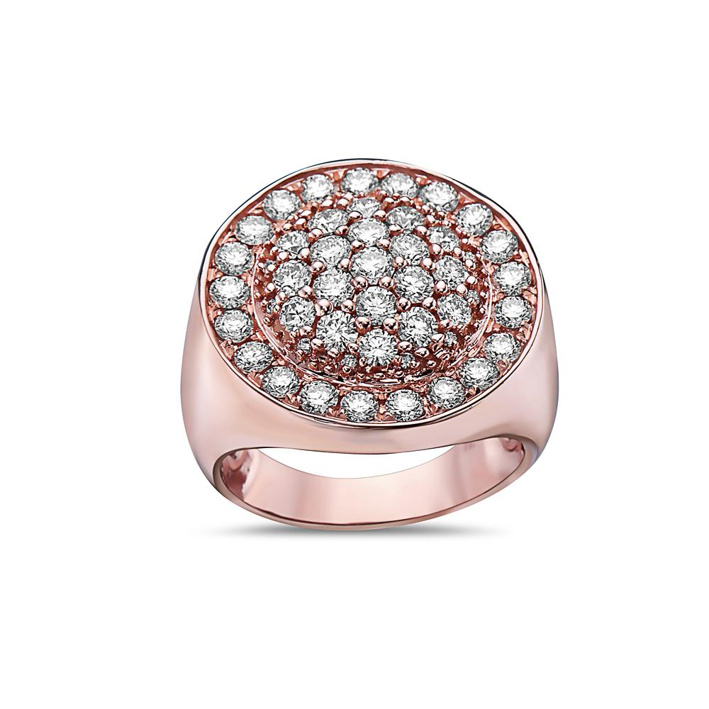 Men's 14K Rose Gold Ring with 2.88 CT Diamonds