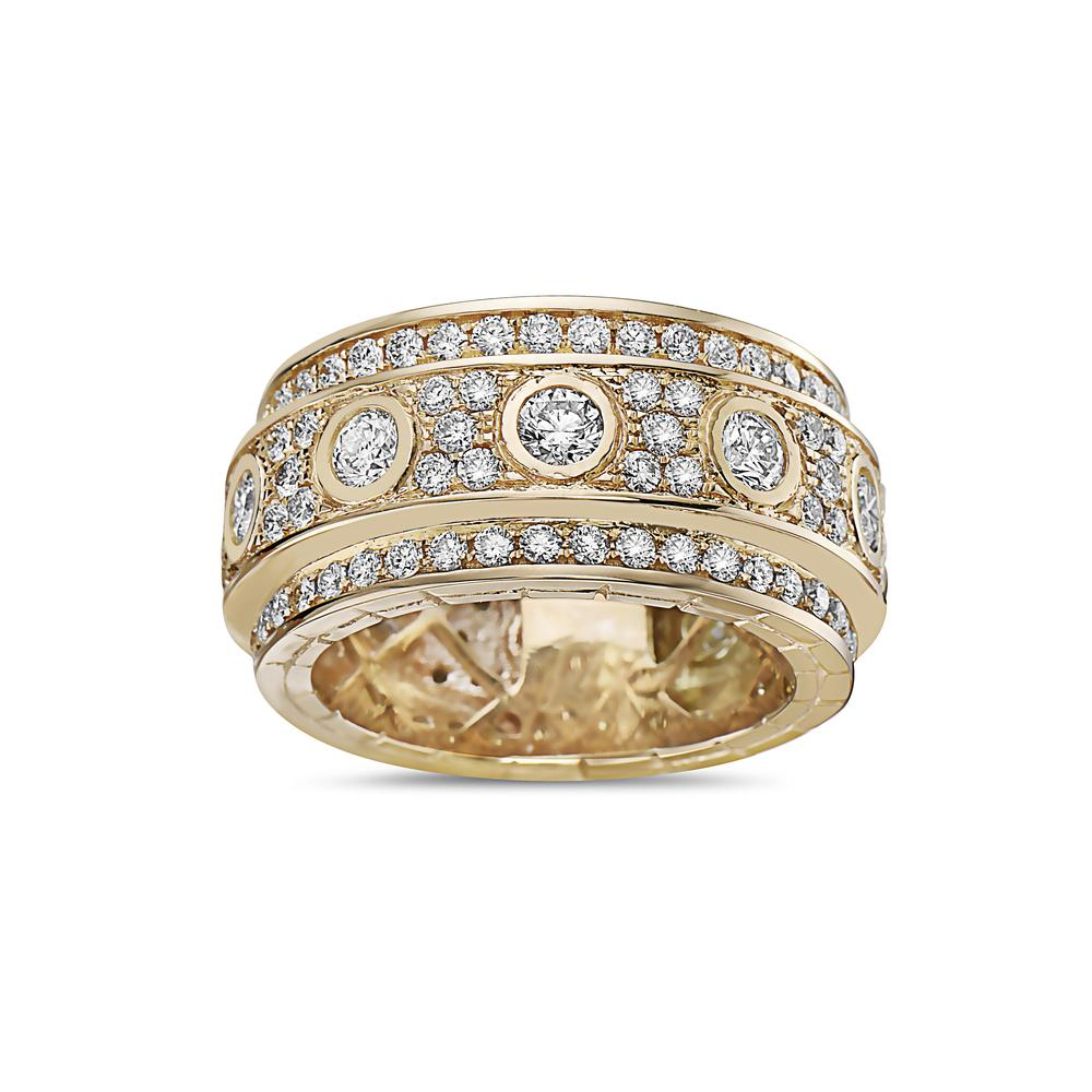 Men's 14K Yellow Gold Band with 4.74 CT Diamonds