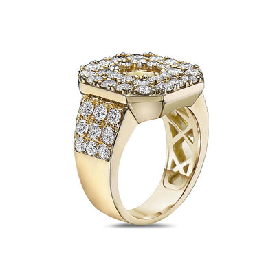 Men's 14K Yellow Gold Ring with 4.20 CT Diamonds