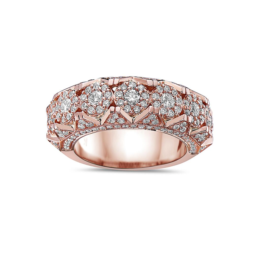 Men's 14K Rose Gold Band with 2.35 CT Diamonds