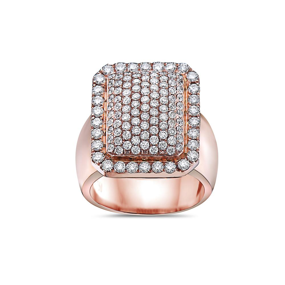 Men's 14K Rose Gold Ring with 2.57 CT Diamonds