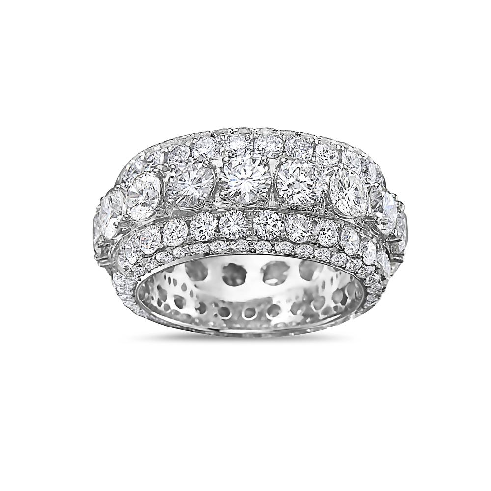Men's 14K White Gold Band with 11.50 CT Diamonds