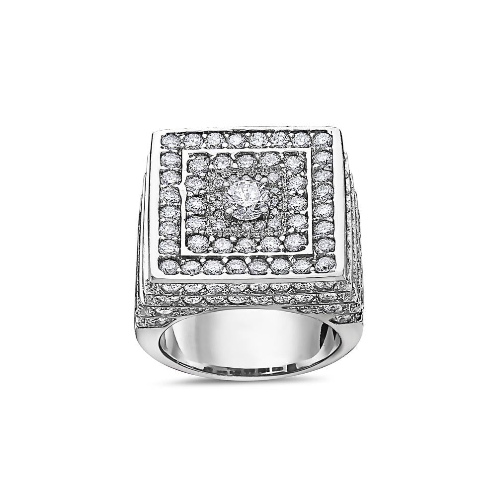 Men's 14K White Gold Ring with 9.50 CT Diamonds
