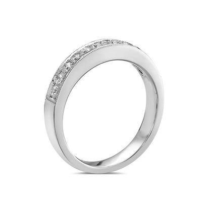 Ladies 18K White Gold With  0.52 CT  Diamond Wedding Band