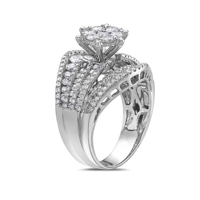 Ladies 18k White Gold With 2.56 Ct Engagement Ring