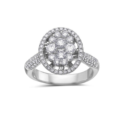 Ladies 14k White Gold Halo With 1.59 CT Cluster Engagement Ring