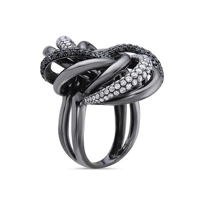 Ladies 18k Black Gold With 3.10 CT Right Hand Ring