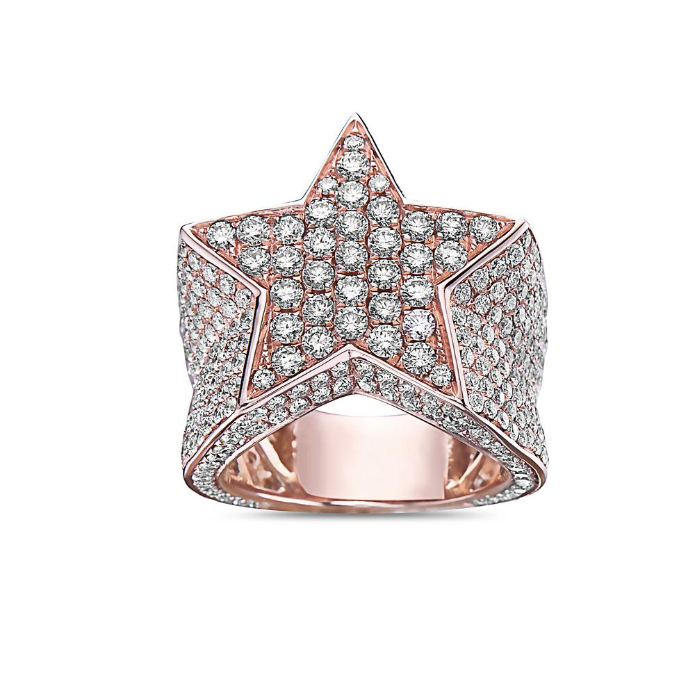 Men's 14K Rose Gold Star Ring with 6.65 CT Diamonds