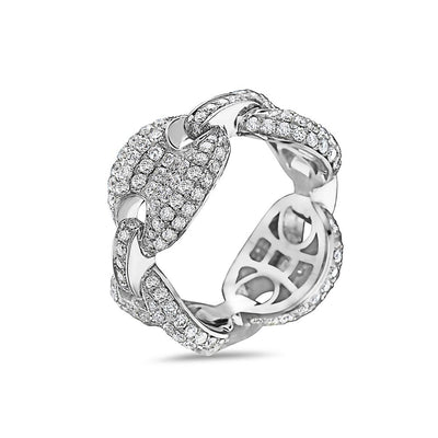 Men's 14K White Gold Chain Ring with 3.54 CT Diamonds