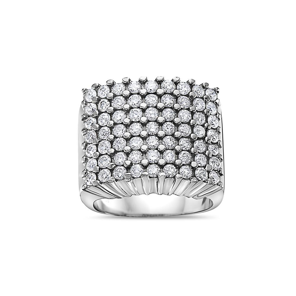 Men's 10K White Gold Ring with 3.41 CT Diamonds