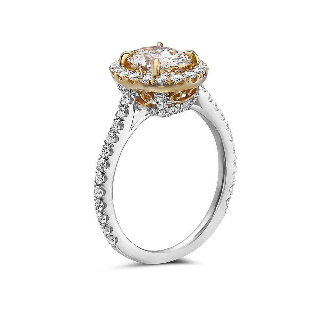 Ladies 18k White Gold Halo With 1.85 CT Engagement Ring