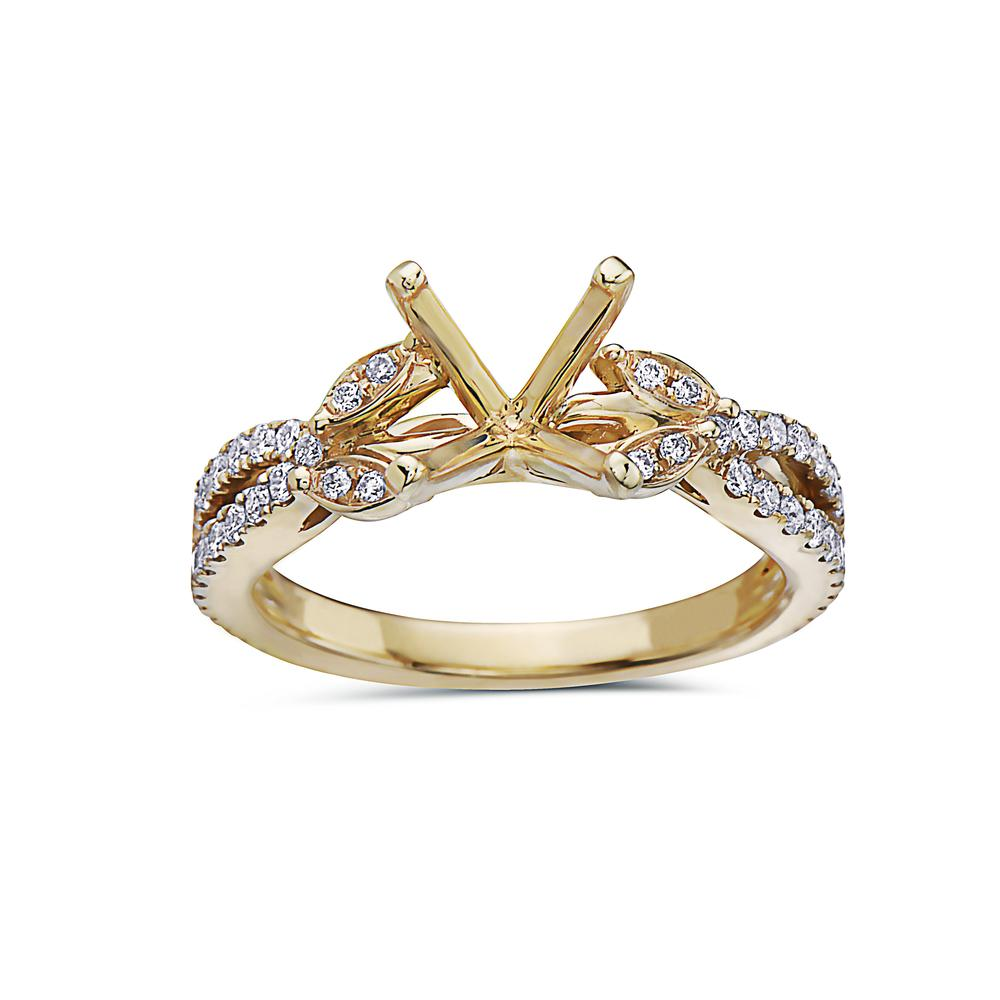 Ladies 18k Yellow Gold With 0.47 CT Semi Mount Engagement Ring