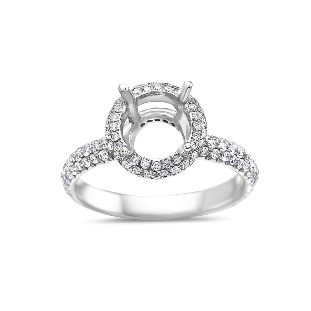 Ladies 18k White Gold With 1.02 CT Semi Mount Halo Engagement Ring