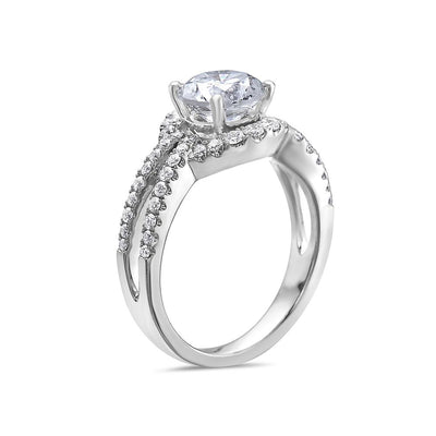 Ladies 18k White Gold Halo With 2.45 CT Engagement Ring
