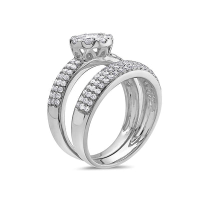 Ladies 14k White Gold Halo with 1.38 CT Bridal Set