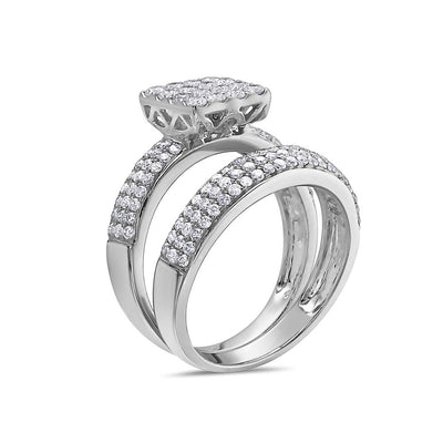 Ladies 14k White Gold With 1.32 CT Bridal Set