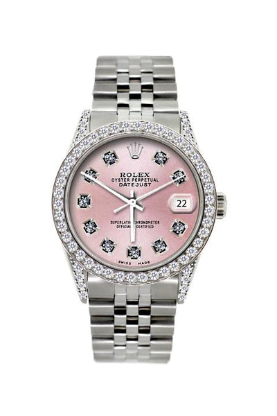 Rolex Datejust Diamond Watch, 36mm, Stainless Steel Red Light Pink Dial w/ Diamond Bezel and Lugs