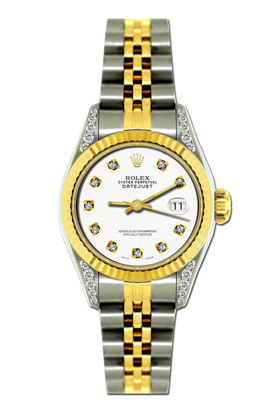 Rolex Datejust Diamond Watch, 26mm, Yellow Gold and Stainless Steel Bracelet Lilac Dial w/ Diamond Lugs
