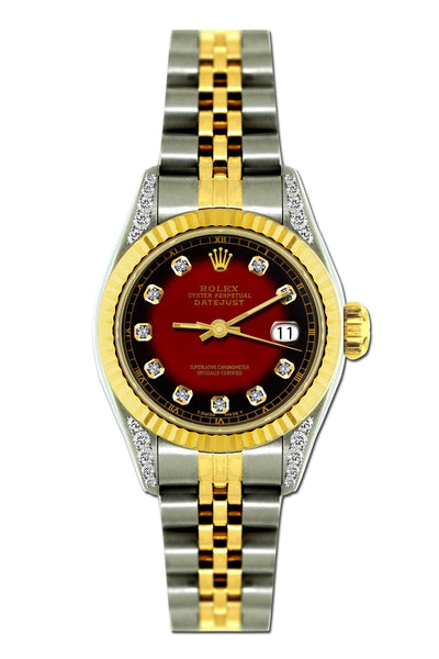 Rolex Datejust Diamond Watch, 26mm, Yellow Gold and Stainless Steel Bracelet Red and Black Dial w/ Diamond Lugs