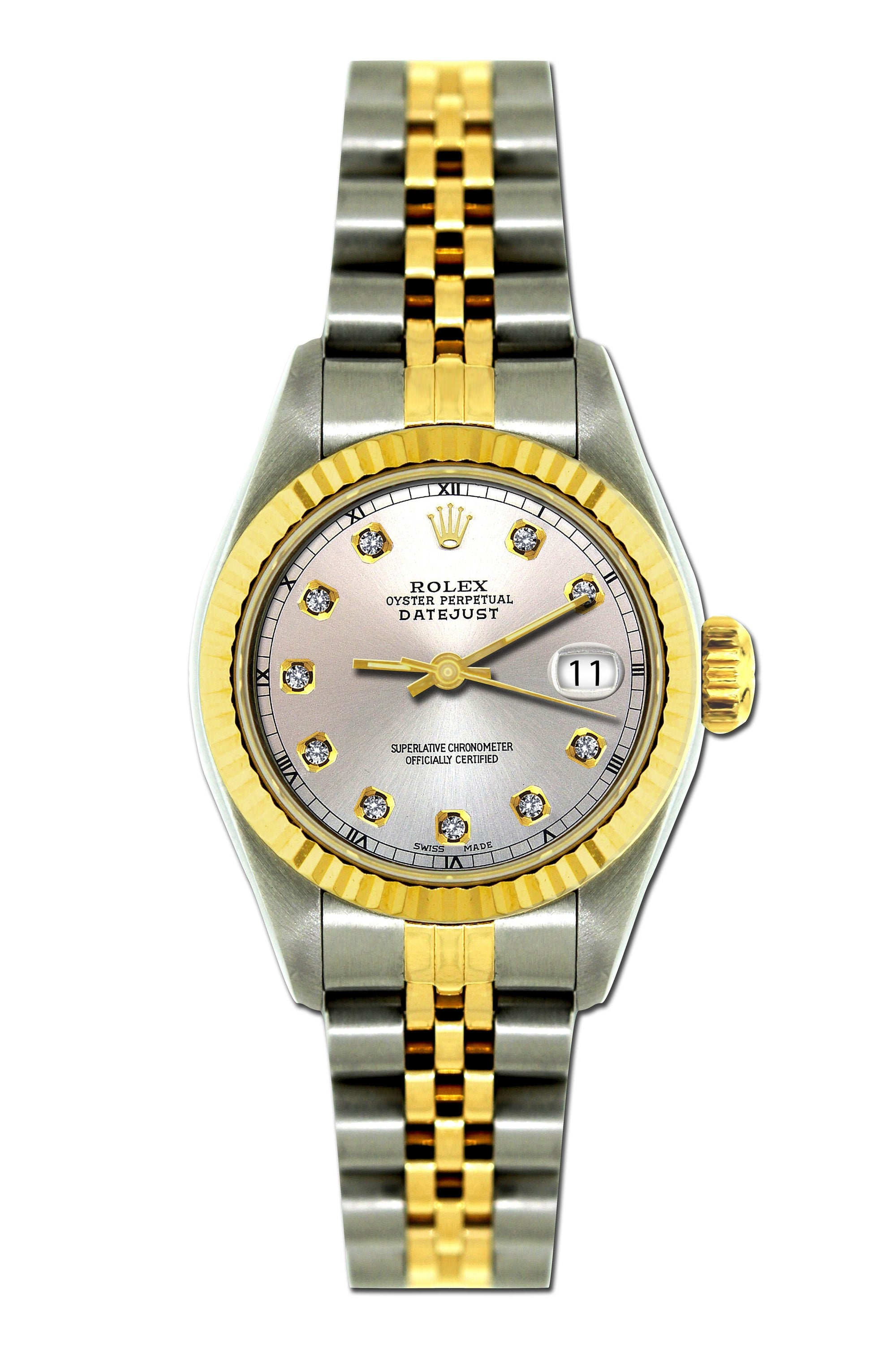 Rolex Datejust 26mm Yellow Gold and Stainless Steel Bracelet Cloudy Dial