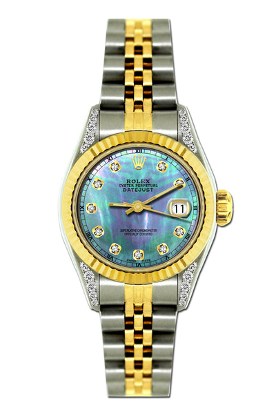 Rolex Datejust Diamond Watch, 26mm, Yellow Gold and Stainless Steel Bracelet Blue Mother of Pearl Dial w/ Diamond Lugs
