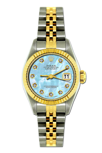 Rolex Datejust 26mm Yellow Gold and Stainless Steel Bracelet Pattens Blue Dial
