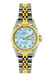 Rolex Datejust Diamond Watch, 26mm, Yellow Gold and Stainless Steel Bracelet Ice Blue Dial w/ Diamond Lugs