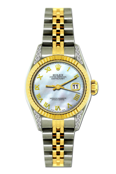 Rolex Datejust Diamond Watch, 26mm, Yellow Gold and Stainless Steel Bracelet Spindle Dial w/ Diamond Lugs