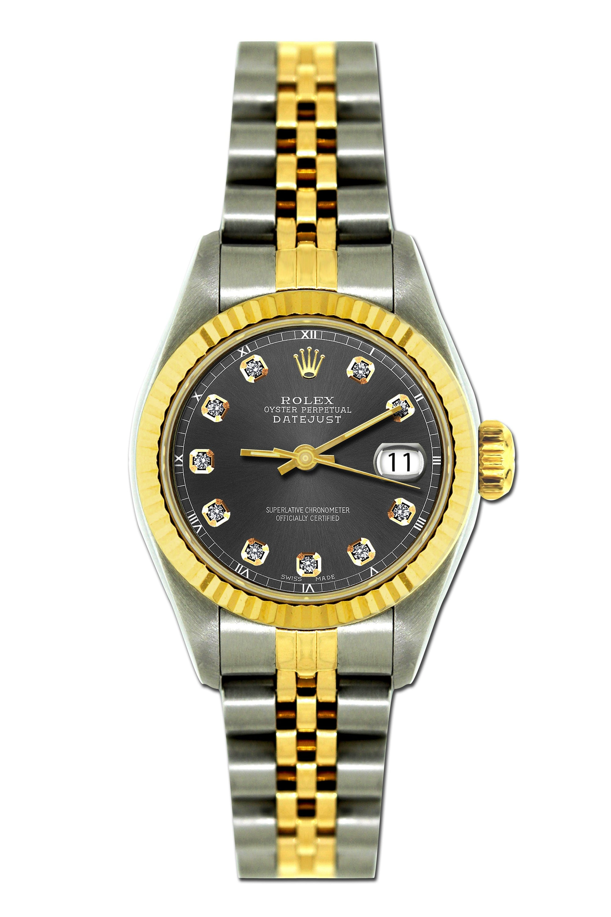 Rolex Datejust 26mm Yellow Gold and Stainless Steel Bracelet Borakay Gray Dial