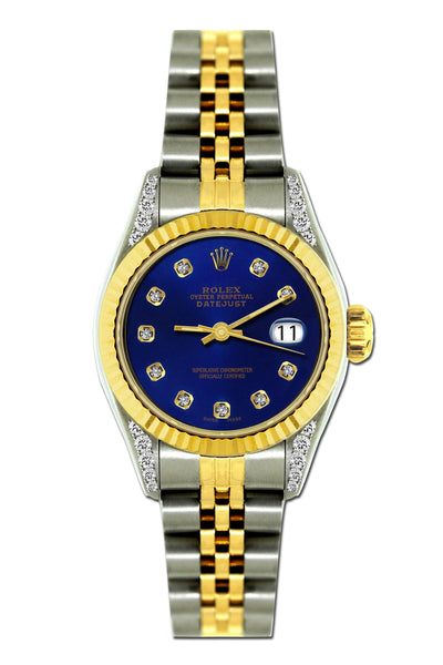 Rolex Datejust Diamond Watch, 26mm, Yellow Gold and Stainless Steel Bracelet Sapphire Dial w/ Diamond Lugs