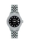 Rolex Datejust Diamond Watch, 26mm, Stainless SteelBracelet Black Dial w/ Diamond Bezel