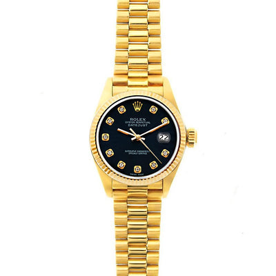 Rolex Datejust 26mm 18k Yellow Gold President Bracelet Bokara Grey Dial