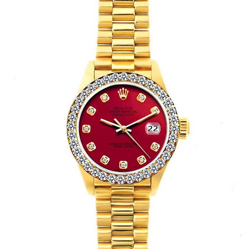 18k Yellow Gold Rolex Datejust Diamond Watch, 26mm, President Bracelet Cardinal Dial w/ Diamond Bezel
