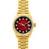 Rolex Datejust 26mm 18k Yellow Gold President Bracelet Red and Black Dial