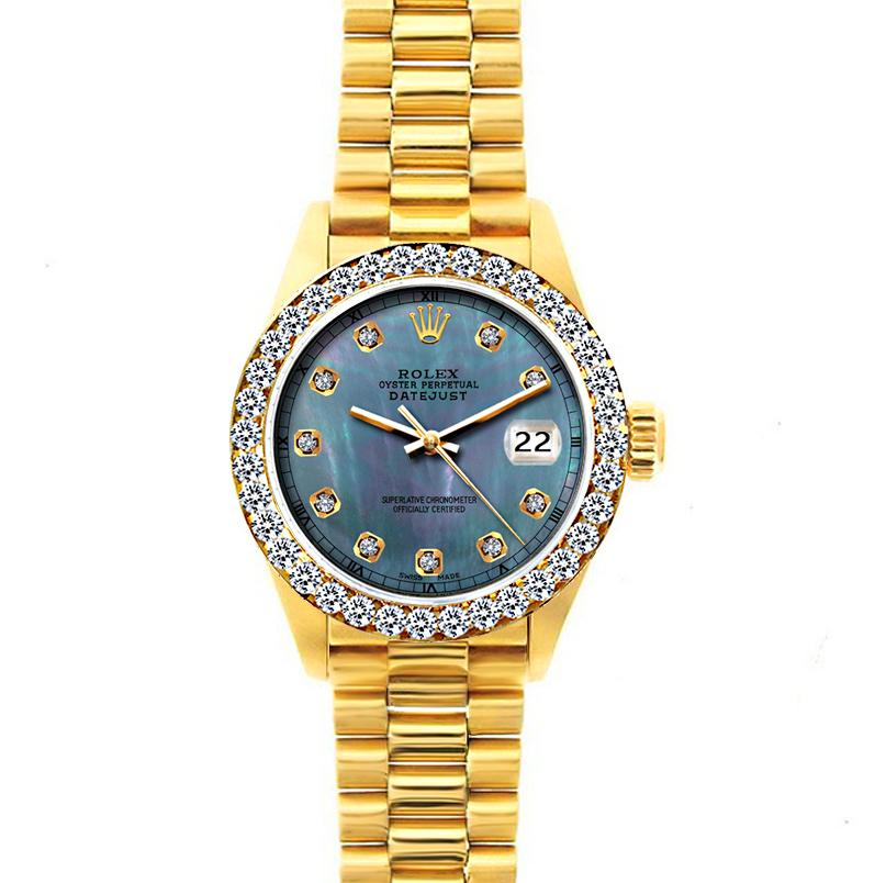 18k Yellow Gold Rolex Datejust Diamond Watch, 26mm, President Bracelet Blue Mother of Pearl Dial w/ Diamond Bezel