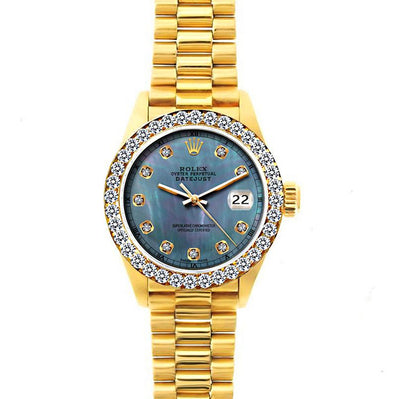 18k Yellow Gold Rolex Datejust Diamond Watch, 26mm, President Bracelet Black Mother of Pearl Dial w/ Diamond Bezel