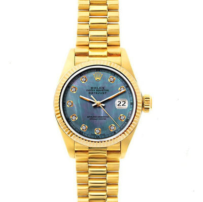Rolex Datejust 26mm 18k Yellow Gold President Bracelet Blue Mother of Pearl Dial